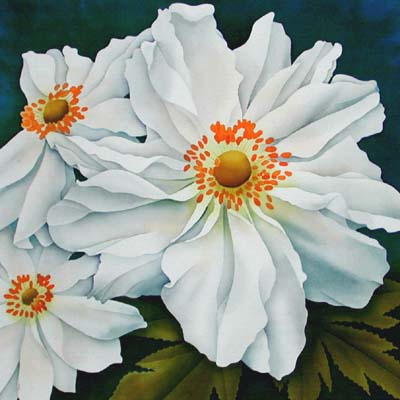 Silk Painting Japanese Anemone