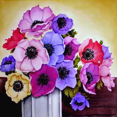 Silk Painting Vase of Anemones
