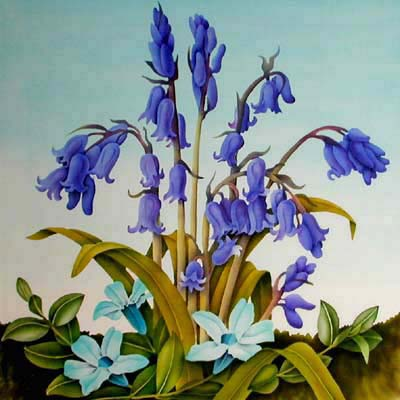Silk Painting Bluebells and Periwinkle
