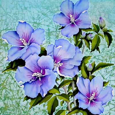 Silk Painting Hibiscus Bluebird