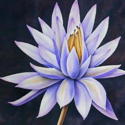 Silk Painting Blue Water Lily
