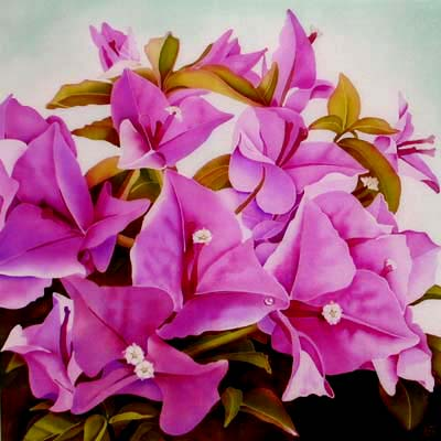 Silk Painting Bougainvillea