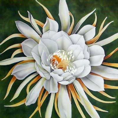 Silk Painting Orchid Cactus