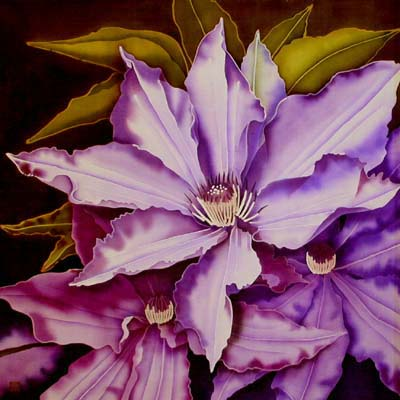 Silk Painting Clematis - The President