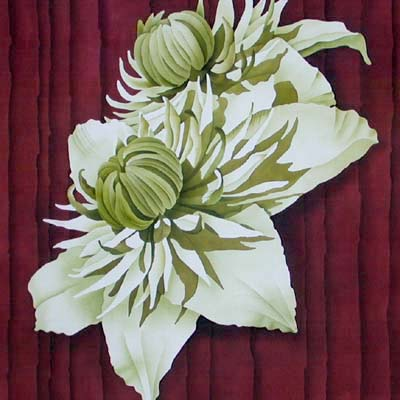 Silk Painting Clematis Flore-pleno