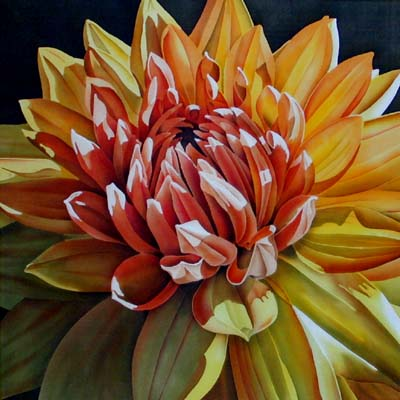Silk Painting Golden Dahlia