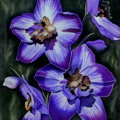 Silk Painting Delphinium Blues