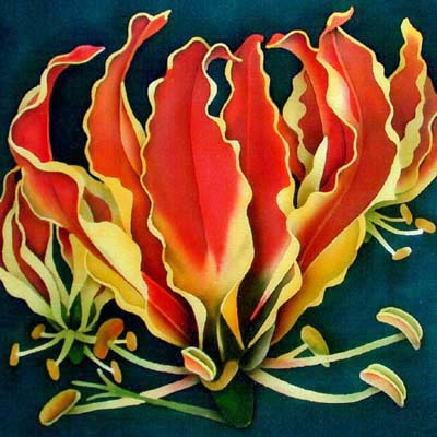 Silk Painting Flame Lily
