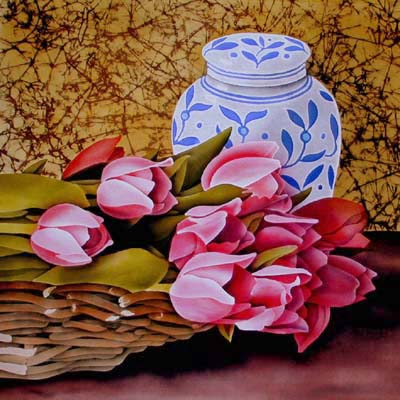 Silk Painting Tulips and Ginger Jar