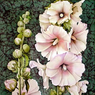 Silk Painting Hollyhocks