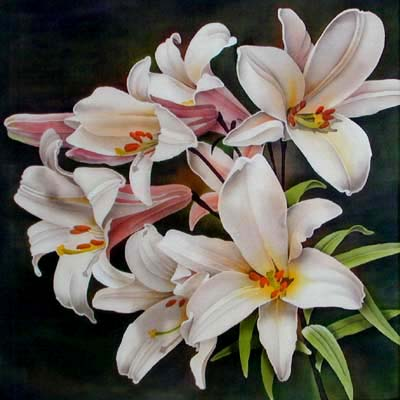 Silk Painting Trumpet Lilies