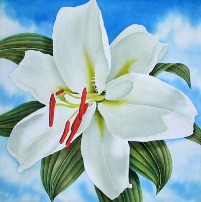 Silk Painting White Oriental Lily