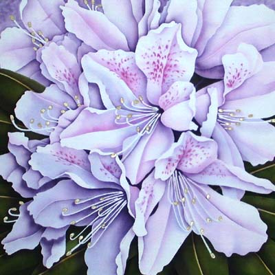 Silk Painting Rhododendron - Moonlight