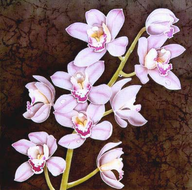 Silk Painting Cymbidium Orchid