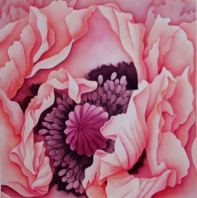 Silk Painting Oriental Poppy