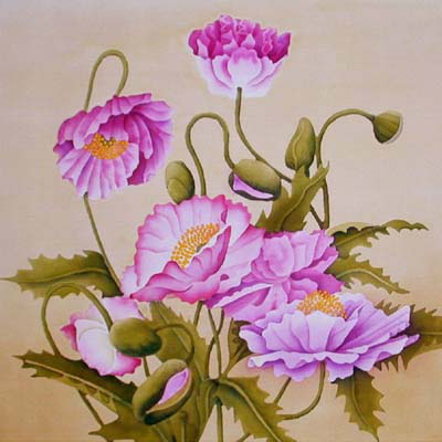 Silk Painting Iceland Poppies