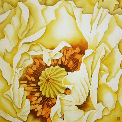 Silk Painting Yellow Oriental Poppy