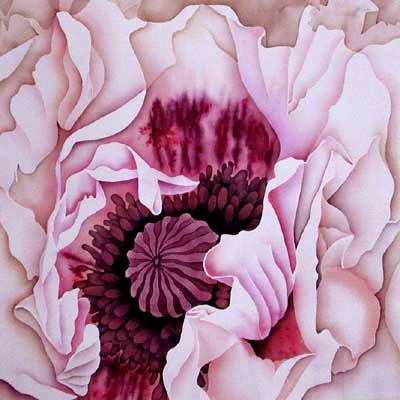 Silk Painting Poppy Perry's White