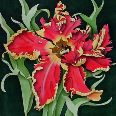 Silk Painting Red Parrot Tulip