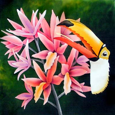 Silk Painting Toucan and Orchids