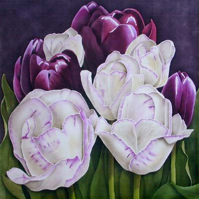 Silk Painting Feathered Tulips