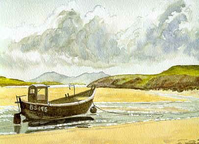 Watercolour Aberffraw Anglesey