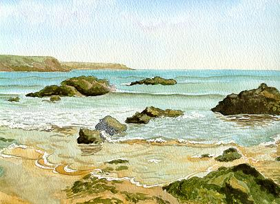 Watercolour Marloes Beach Pembrokeshire