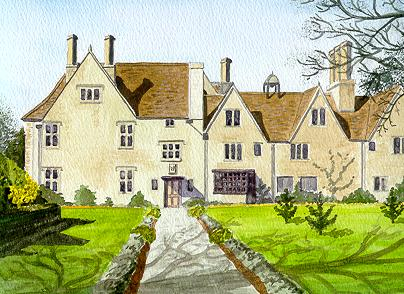 Watercolour Avebury Manor Wiltshire