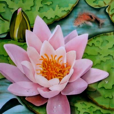 Silk Painting Water Lily